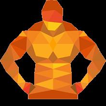 Bodybuilder mit einem Stiernacken beim Fettabbau