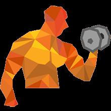 Bodybuilder beim Muskelaufbau mit Hantel