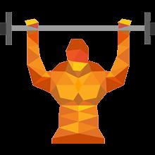 Sportler mit Langhantel beim Muskelaufbau