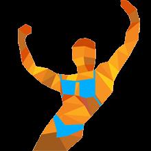Bodybuilderin mit ausgestrecken Händen
